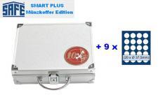 SAFE 173 PLUS ALU Münzkoffer 9 Tableaus 6337 für 180 x 10 EURO / DM in Original Münzkapseln 32, 5 PP & Münzen bis 37, 5 mm
