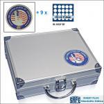 SAFE 230 - 6337 PLUS ALU Münzkoffer USA 9 Tableaus 180 runde Fächer 37, 5 mm & Münzkapseln 31 - 32, 5 US Half Dollar in Münzkapseln