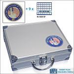 SAFE 230 - 6324 PLUS ALU Münzkoffer SMART USA 9 Tableaus 432 quadratische Fächer 24, 5 mm für US State Quarters