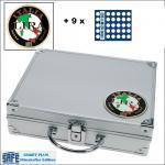 SAFE 232 - 6326 PLUS ALU Münzkoffer SMART Italien 9 Tableaus 315 Fächer 26 mm 2 Euro Münzen