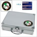SAFE 232 - 6339 STANDARD ALU Münzkoffer SMART Italien 6 Tableaus 30 komplette EURO Kursmünzensätze KMS 1 Cent - 2 € in Münzkapseln