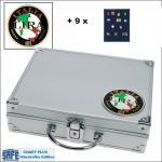 SAFE 232 - 6360 PLUS ALU Sammelkoffer SMART Italien 9 Tableaus ohne Einteilung Pins Anstecknadeln Militaria Broschen