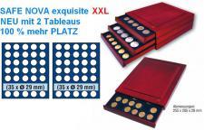 SAFE 6829 XL Nova Exquisite Mahagoni Finish Holz Münzboxen 70 runde Fächer 29 mm für 5 Euro DM Mark der DDR & Münzkapseln 23, 5 mm