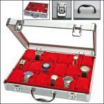 SAFE 266-1 ALU Uhrenkoffer DIAMANT XXL ROT 18 Fächer + Uhrenhaltern glasklarem Sichtfenster für Damen Herren Schmuck Armbanduhren