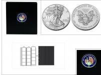 SAFE 7349 PREMIUM MÜNZALBUM USA American Eagle Silver $ Dollars Gedenkmünzen 1986 - 2021 mit 4 Münzhüllen 7391 + schwarze ZWL