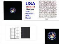 SAFE 7349 PREMIUM MÜNZALBUM USA 25 Cent - US QUARTERS STATEHOOD Gedenkmünzen 1999 - 2008 + 6x Münzhüllen 7393 + schwarze ZWL