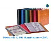 LINDNER 3107 - S Schwarzes Münzalbum Ringbinder HALF PENNY + 10 x MU Münzblätter Mixed + rote Zwischenblätter ZWL für über 300 Münzen