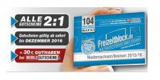 Freizeitblock Niedersachsen - Bremen 2015-2016 Gutscheinbuch FREIZEIT GUTSCHEINE RABATTE PORTOFREI IN DEUTSCHLAND
