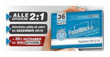 Freizeitblock Saarland 2015-2016 Gutscheinbuch FREIZEIT GUTSCHEINE RABATTE PORTOFREI IN DEUTSCHLAND