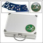 SAFE 172 ALU Münzkoffer 6 Tableaus 6334 für 180 Münzen bis 32 mm & 2 EURO Münzen Gedenkmünzen in Münzkapseln 26
