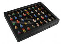 SAFE 5677 Black Edition Sammelvitrinen Vitrinen Setzkasten mit 45 Fächern bis 49 mm Höhe Ideal für LEGO Minifiguren Star Wars - Hobbit - Classic - Princess - Piraten - Speed usw.