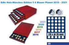SAFE 6829 Nova Exquisite Holz Münzboxen 35 x 5 Euro Blauer Planet Erde Serie 2016 - 2021