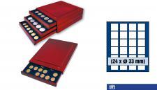 SAFE 6833 Nova Exquisite Holz Münzboxen Schubladenelemente 24 Eckige Fächer 33 mm Für Münzen bis 26 - 27 - 28 mm in Münzkapseln und 10 DM 10 - 20 Euro Gedenkmünzen