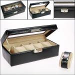 SAFE 264 Skai Uhrenkoffer Carbo Schwarz 6 Uhren Fächer + Uhrenhaltern in beige