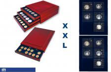 SAFE 6870 XXL Nova Exquisite Holz Münzboxen Schubladenelement mit 2 Tableaus 6370 und 12 Eckige Fächer 70x62 mm Ideal für 5 - 10 DM im Blister - große Münzen Medaillen - bis 56 mm in Münzkapseln