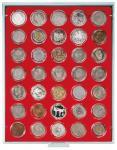 LINDNER 2225 Münzbox Münzboxen Standard Grau 35x 36 mm. 5 DM Gedenkmünzen / 5 CHF in Münzkapseln
