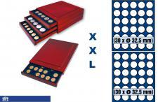 SAFE 6832 XXL Nova Exquisite Holz Münzboxen Schubladenelemente 60 runde Fächer 32, 5 mm für 10 Euro DM Mark der DDR 20 Euro