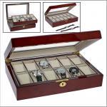 SAFE 260 Lackholz Uhrenkassette Mahagonifarbend Piano Optik mit 12 Uhrenhaltern klarem Sichtfenster - Schmuck