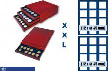 SAFE 6845 XXL Nova Exquisite Holz Münzboxen Schublade mit 2 Tableaus 6345 und 24 Fächer 45 mm Für 5 Kanada Dollar & Maple Leaf in Kapseln - 5 Mark Kaiserreich in Kapseln - US Smal Dollar Trade - Morgan - Liberty in Kapseln