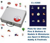 SAFE 244 - 6360 ALU Sammelkoffer SMART Polen / Polska / Poland 6 Tableaus 6360 Für bis zu 300 Pins Button Anstecknadeln aus Politik - Hobby - Sport - Heimat - Pfadfinder - Freizeit - Fussball - Festivals