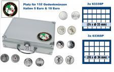 SAFE 232 ALU Länder Münzkoffer SMART Italien / Italia / Italy 3 Tableaus 6333 & 3x 6336 Platz für 132 - 5 und 10 Euro Gedenkmünzen / 120 soggetti monete commemorative Italia
