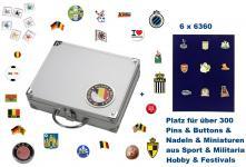 SAFE 239 - 6360 ALU Sammelkoffer SMART Belgien / Belgique / Belgie / Belgium 6 Tableaus 6360 Für bis zu 300 Pins Button Anstecknadeln aus Politik - Hobby - Sport - Heimat - Pfadfinder - Freizeit - Fussball - Festivals