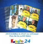 100 Fotohüllen Hüllen DIN A4 Kelsche glasklar für je 8 Fotos 10x15 cm für bis zu 800 Bilder Fotos Photos
