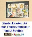 100 x A6 KOBRA VR3 Einsteckkarten Steckkarten Klemmkarten 3 Streifen + Folienschutzblatt für Briefmarken