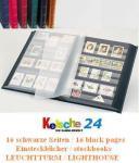 LEUCHTTURM 335982 Basic S16 Einsteckbuch Einsteckbücher Briefmarkenalbum Blau 16 Schwarze Seiten A4
