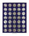 Lindner 2111M Münzbox Münzboxen Marine Blau für 35 x 32, 5 mm Ø 10 & 20 Euromünzen 10 DM 200 Euro Gold
