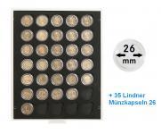 LINDNER S2530BSK BLACK SAMT Münzbox Münzboxen 2530C Carbo Schwarz 35 x 2 EUROMÜNZEN inklusive 35 Münzkapseln 26