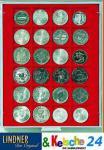 LINDNER Münzbox Münzboxen 24 x 42 mm Münzen quadratischen Vertiefungen 1 $ US Eagle Dollar 50 FF Standard 2124