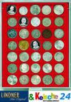 LINDNER MÜNZBOXEN Münzbox 35 x 36 mm Münzen quadratischen Vertiefungen 5 Reichsmark Rauchglas 2735
