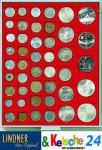 LINDNER MÜNZBOXEN Münzbox 45 quadratische Vertiefungen von 24 - 28 - 39 - 44 mm Münzen Rauchglas 2745