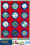 LINDNER Münzbox Münzboxen 12 x 63 mm Münzen in Münzkapseln Rauchglas 2912