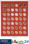 LINDNER 2929 Münzbox Münzboxen Rauchglas für 42x 5 / 20 Cent 1 EURO 1 DM 5 ÖS in Münzkapseln