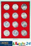 LINDNER Münzbox Münzboxen 12 x 54 mm Münzen in Münzkapseln Rauchglas 2954