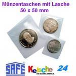 50 x SAFE 1298 Münztaschen Münzentaschen + Lasche Kunststoff weichmacherfrei 50 x 50 mm