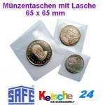 50 x SAFE 1299 Münztaschen Münzentaschen + Lasche Kunststoff weichmacherfrei 65 x 65 mm