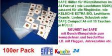 100 Hüllen f Münzrähmchen SAFE Nr.435XL A4 Format -