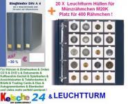 20 Leuchtturm Hüllen M20K 324851 für Münzrähmchen + KELSCHE RINGBINDER EXTRA A4