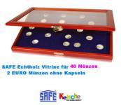 SAFE 5868 Echtholz Holz Vitrinen 40 x 2 EUROMÜNZEN Gedenkmünzen - für Münzen bis bis 26 mm