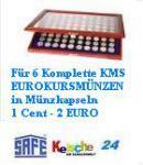 SAFE 5906 HOLZ MÜNZVITRINEN 6 x komplette EUROMÜNZEN Kursmünzensätze KMS von 1 Cent bis 2 Euro in Münzkapseln