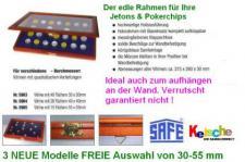SAFE 5903 Echtholz Sammelvitrinen Vitrinen mit Echtglass Sichtfenster 40 Fächer bis 30 mm Jetons Pokerchips Casinochips Wertmarken Spielgeld