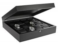 SAFE 252 Eschenholz Uhrenkassette Kassette Anthrazit + 12 kunstleder Uhrenhaltern Für Uhren Schmuck Armbanduhren