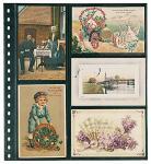 10 LINDNER 021P Omnia Einsteckblätter schwarz 4 senk. & 6 waagerechte Taschen Für alte Postkarten & Ansichtskarten