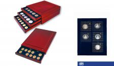 SAFE 6870 Nova Exquisite Holz Münzboxen Schubladenelement 6 Eckige Fächer 70x62 mm Ideal für 5 - 10 DM im Blister - große Münzen Medaillen - bis 56 mm in Münzkapseln