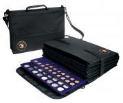 SAFE 196 Schwarze Nylon Münztasche Fächertasche COIN BAG mit 8 Fächern 5 Tableaus Mixed Für über 250 Münzen