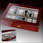 SAFE 250 Lackholz Uhrenkassette Mahagonifarbend Piano Optik mit 12 Uhrenhaltern + Beleuchtung