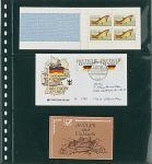 10 LINDNER 823P Klarsichthüllen Schwarz mit 3 Taschen 242 x 90 mm Für Banknoten Briefe MH